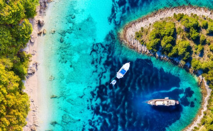 Birds eye view of blue Sea in Croatia with two boats