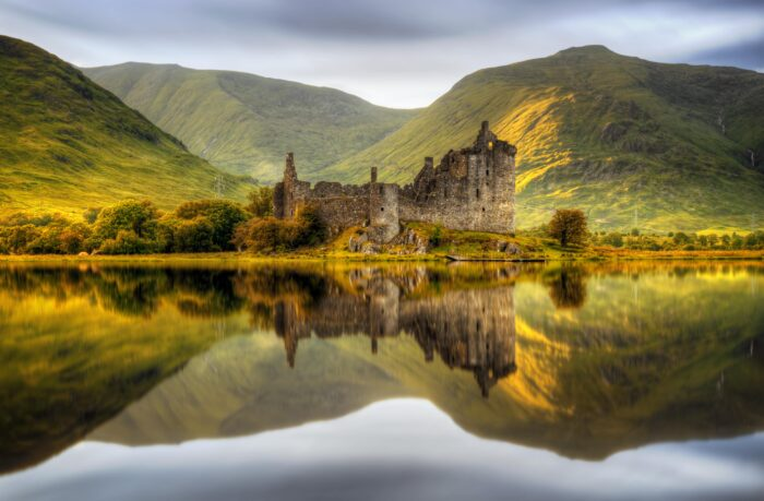 ruined castle in scotland landscape