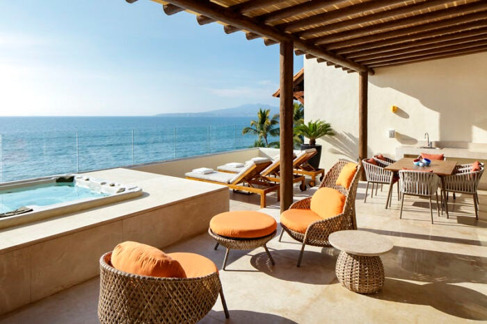 The Presidential Suite balcony with hot tub at Grand Velas Riviera Nayarit