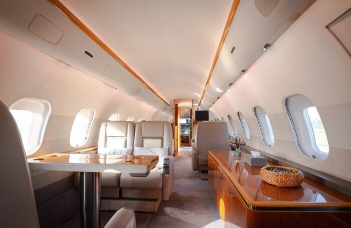 global 5000 private jet interior