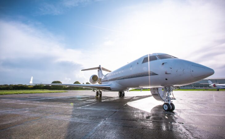 global 500 private jet exterior