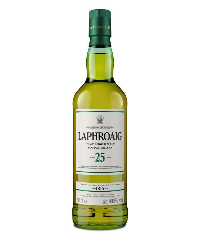 Bottle of Laphroaig Scotch whisky