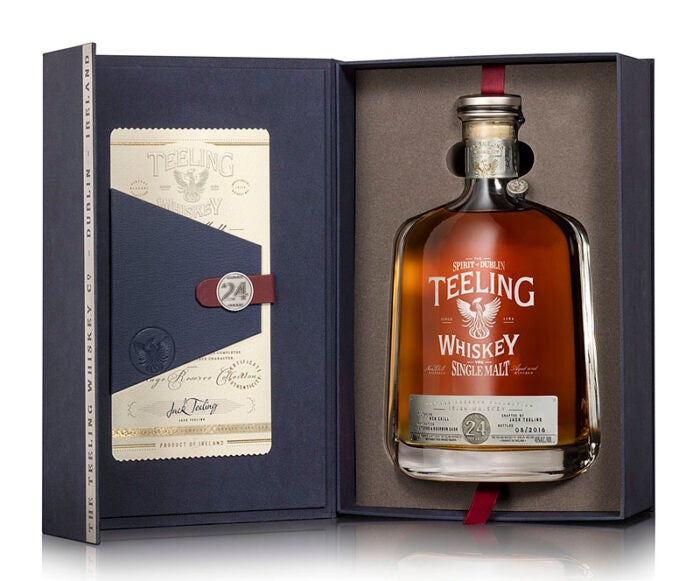 teeling whiskey 24 year old vintage series bottle