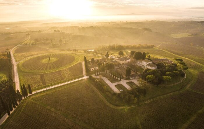 aerial view of avignonesi winery, italy