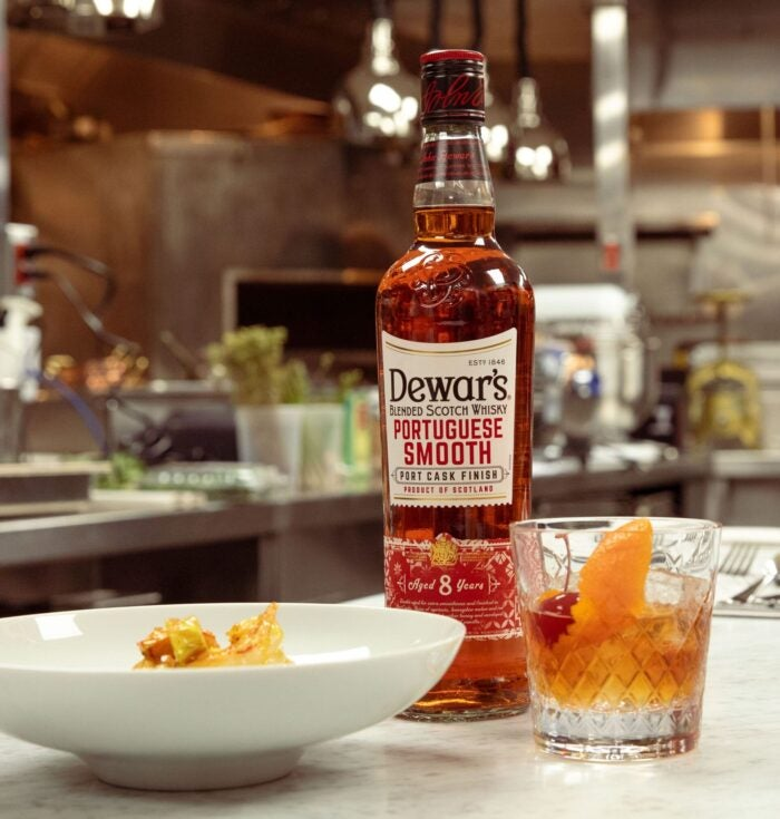 dewar's portugese smooth in kitchen for virtual cooking class