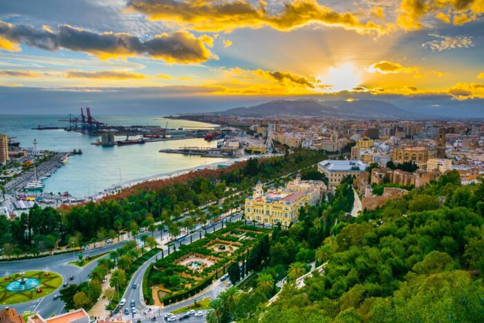 panoramic view of malaga city