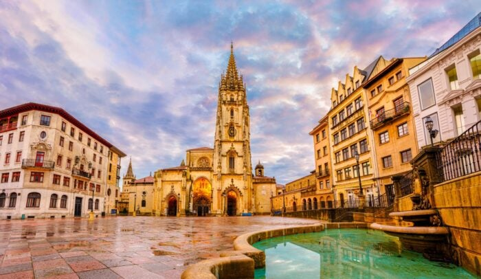 square in oviedo city spain