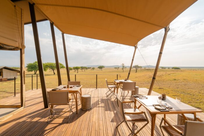 singita sabora safari camp main lodge view and dining area