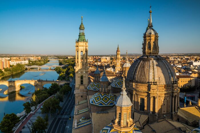 zaragoza architecture and rooftops, spain
