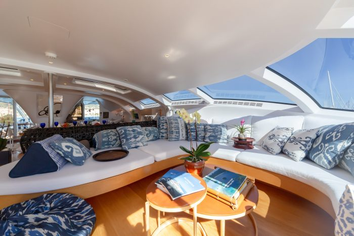 main lounge area on adastra yacht