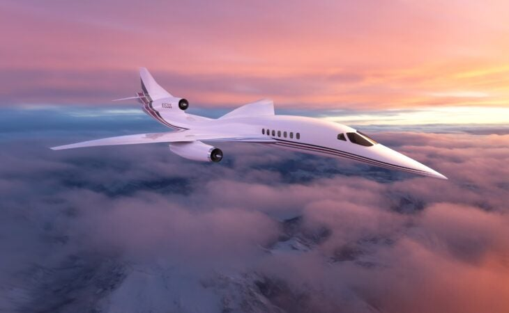 aerion supersonic jet in the air at sunset