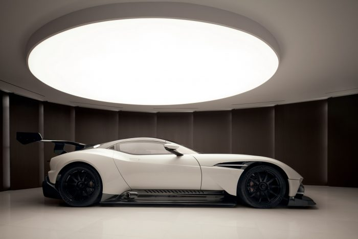 white aston martin vulcan supercar in garage