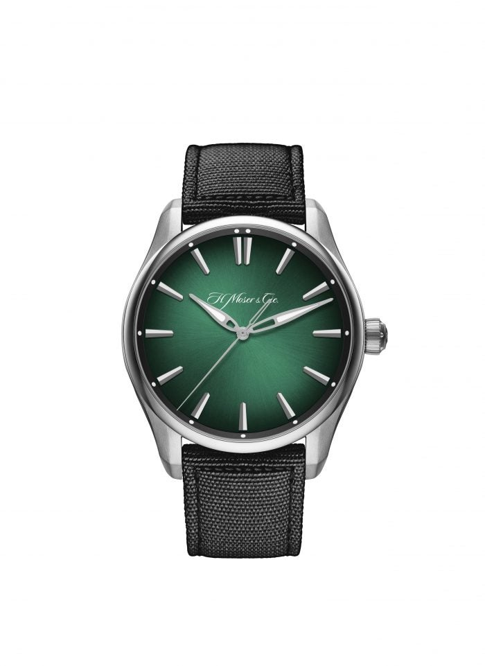 H. Moser & Cie Pioneer Centre Seconds Cosmic Green spring watch
