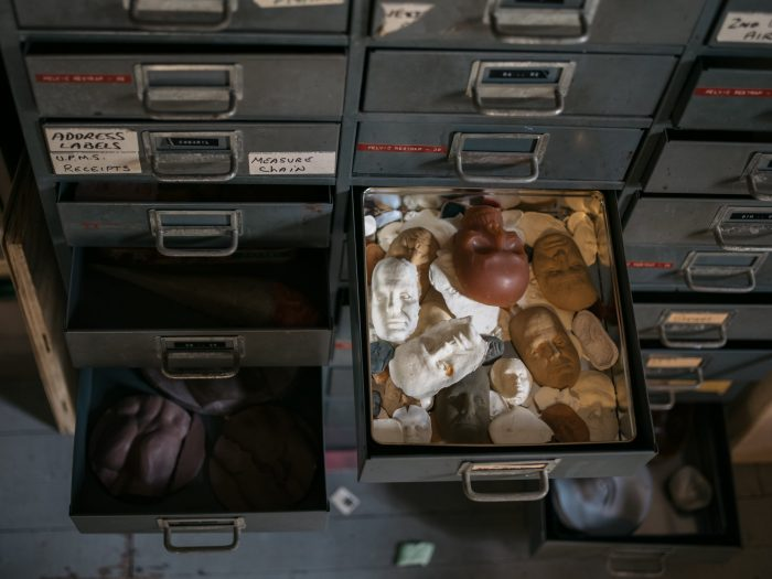drawers of moon faces in anthony lents studio