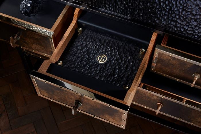 Cabinet Top Drawer without tray showing black wooden inlay