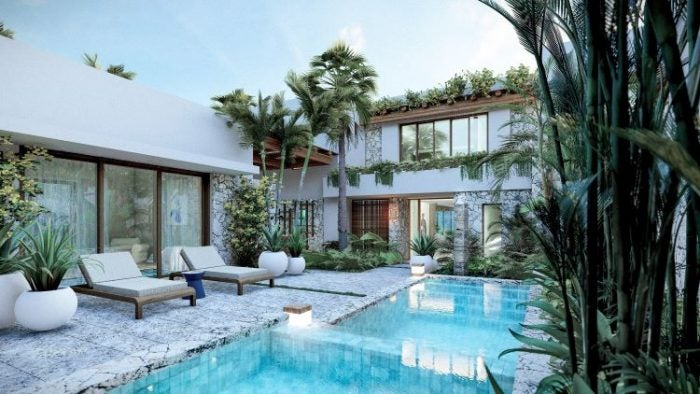 Rendering of the courtyard within a Luxury Residencce complete with pool