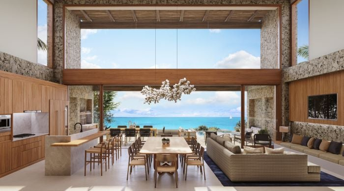 Rendering of the living space within one of the Luxury Residences