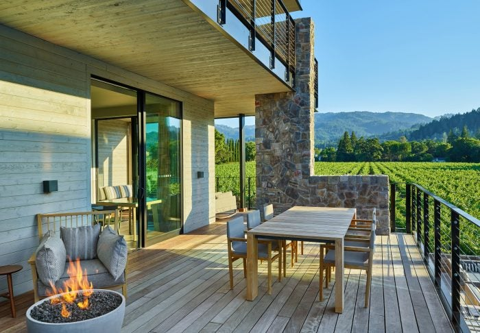 alila napa valley decking area with vineyard view