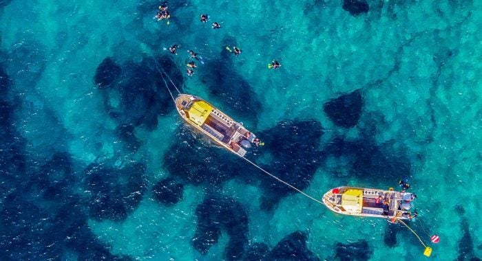 ibiza boat trip from above