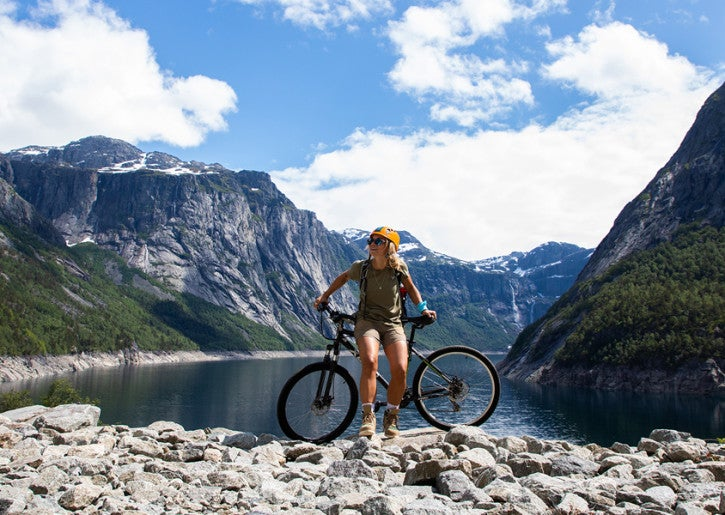 Cyclist in Fjord