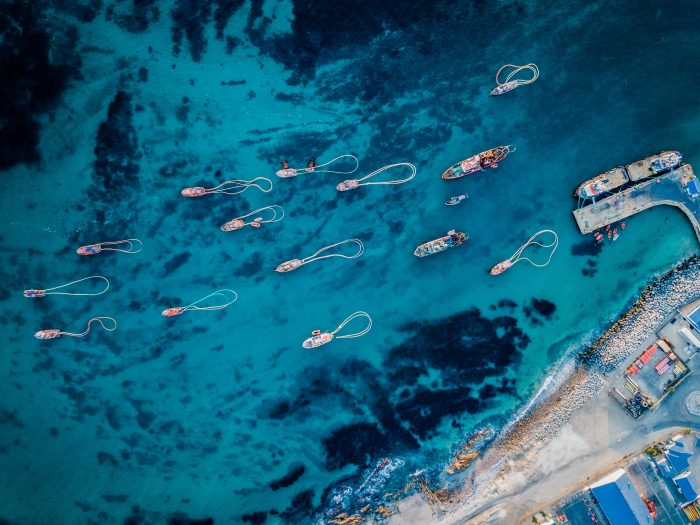 aerial view of ocean diamonds boats