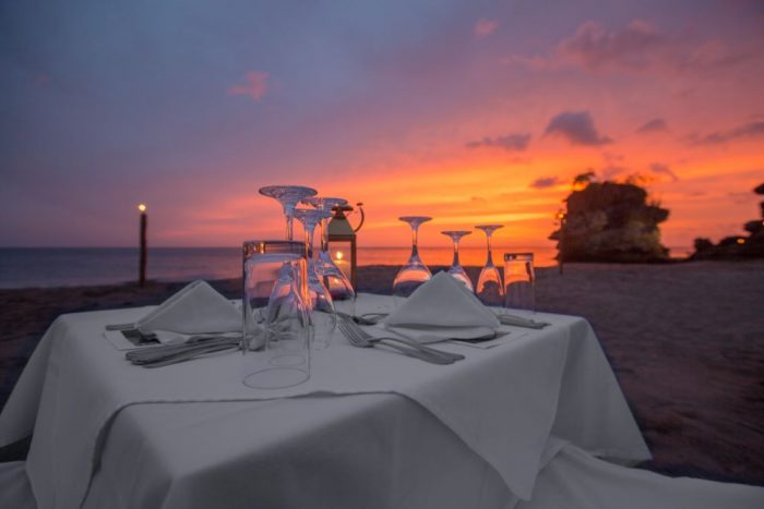 Dinner on the beach oceanside at the Jade Mountain Hotel and Resort