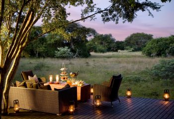 Outdoor deck at Phinda Forest Lodge sunset