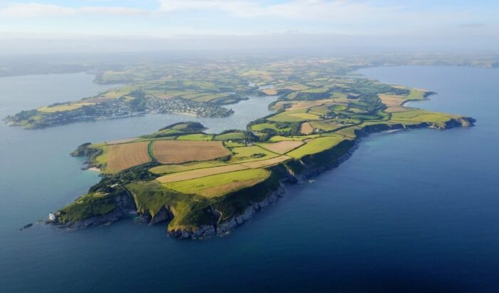 aerial view of the roseland peninsula and st mawes