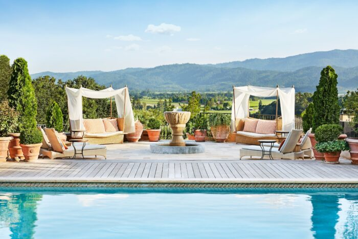 Pool loungers with a view