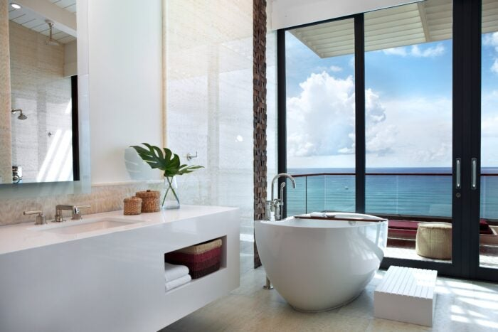 A bathroom at with a view