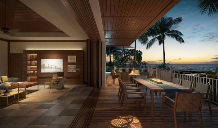 Living area and terrace of villa