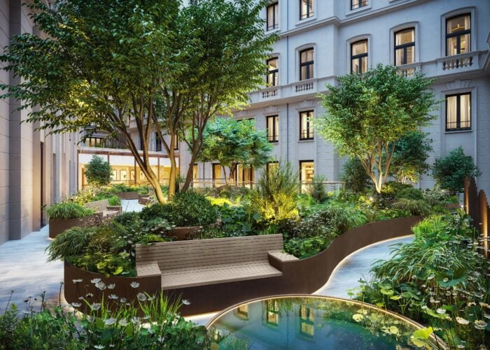 The private garden for residents of the OWO Residences