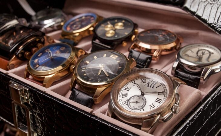 luxury watch in box at auction