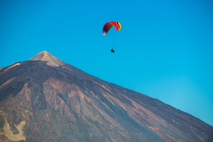 paraglider over teide mountain