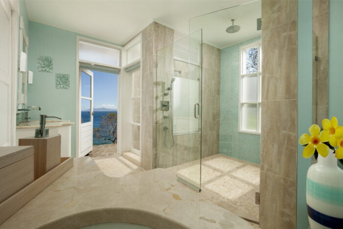 Luxury bathroom at the residential property at the Liming in Bequia