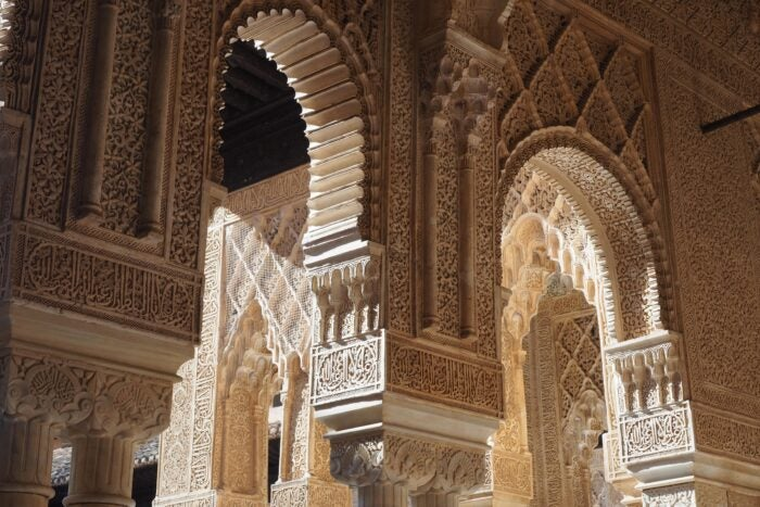 carved archway in alhambra palace granada