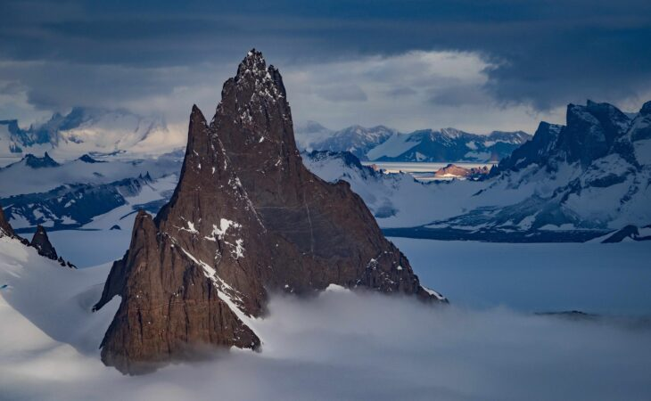 rock face in Antarctica by new white desert camp