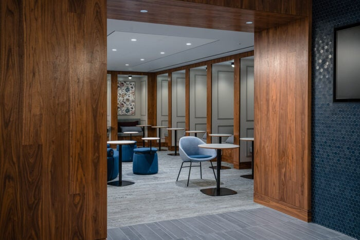 Dining space in the Centurion Lounge at London Heathrow Airport