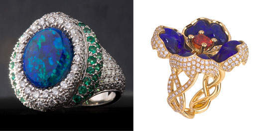 Katherine Jetter's Great Barrier Reef Ring (L) and Queen Ruby II Ring (R)