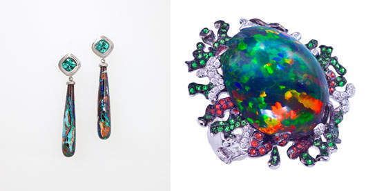Katherine Jetter's Seasons - Spring Breeze Earrings (L) and Poison Ivy Ring (R)