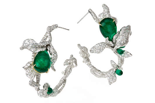 Emerald Ivy Hoops Earrings by Cindy Chao
